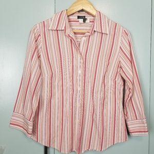 J.Crew pink red stripes button down shirt M -C4